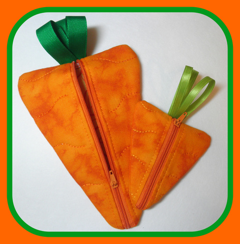 ITH Carrot Zippered Bag In the Hoop-