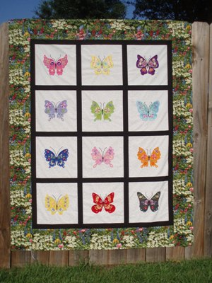 Butterflies In My Garden 6&quot;-machine embroidery applique butterflies