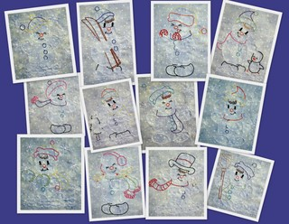 Cute Snowmen 4x4 Colorwork-