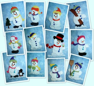 Cute Snowmen 4x4 Applique-applique designs, machine embroidery, snowmen, 4x4 hoop