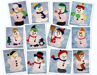 Cute Snowmen 4x4 Mylar